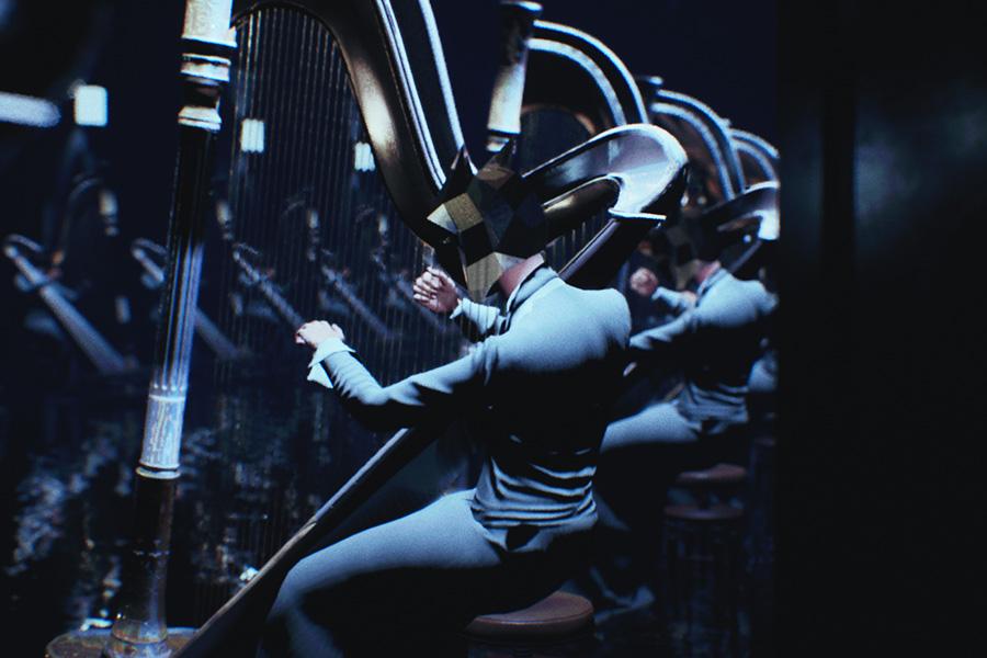 Le couloir de harpes